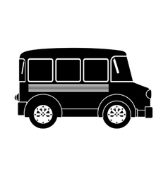 monochrome silhouette with transport bus vector image vector image