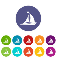 sailing ship set icons vector image