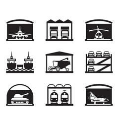 Transportation garages and warehouses vector image vector image