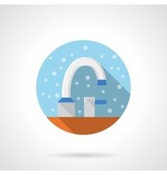 Bathroom tap color round flat color icon vector image