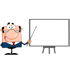 Business Manager With Pointer Presenting On A Boar vector image