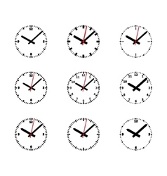 Clock Icon Set - Outline Isolated vector image vector image