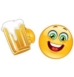 emoticon with beer vector image