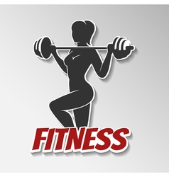 Fitness Girl with barbell vector image vector image