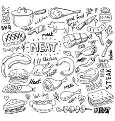 meat elements set vector image vector image