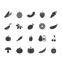 set of monochrome vegetable icons tomato vector image vector image