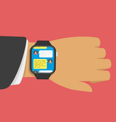 smart watch message vector image vector image