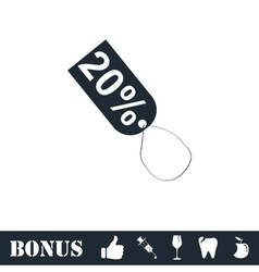 20 percent discount icon flat vector