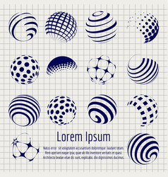 abstract halftone spheres set sketch vector image