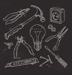 and sketch icons set of carpentry tools lamp vector image