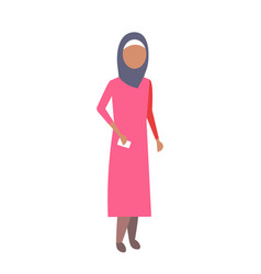 arab woman holding smartphone mobile communication vector image