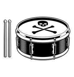 Black and white of drum vector