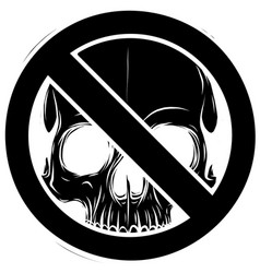 black silhouette prohibited warning skull icon vector image