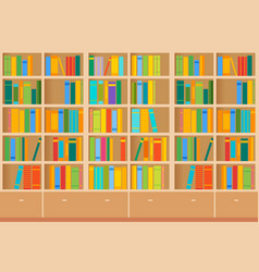 bookshelves full books both in library vector image