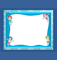 Border template with four kids swimming vector