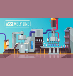 Bottles assembly line composition vector