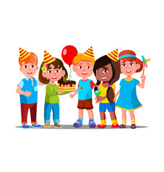 boys and girls celebrate birthday of child vector image