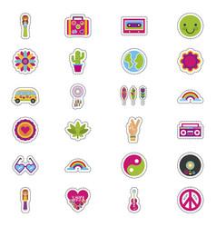 Bundle hippie culture set icons vector