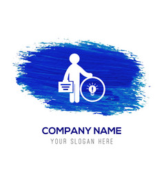Businessman with idea icon - blue watercolor vector
