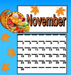 Calendar for November with Thanksgiving vector