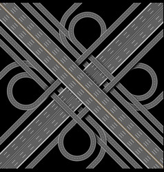 car highway the denouement of the many roads top vector image