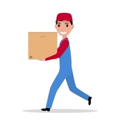 cartoon delivery man with cardboard box vector image