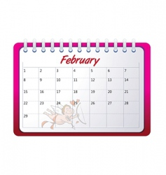 cartoon February calendar vector image