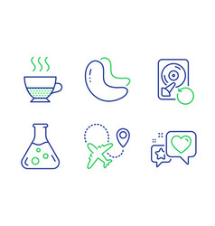 Cashew nut chemistry lab and airplane icons set vector