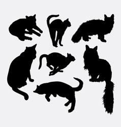 Cat pet animal activity silhouette vector