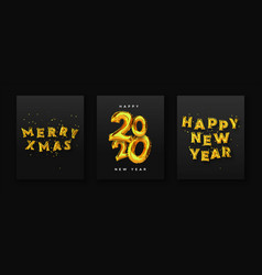 christmas new year 3d gold foil balloon card set vector image