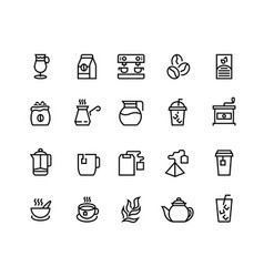 coffee and tea line icons latte espresso and vector image