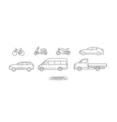 collection linear means transport icons or vector image
