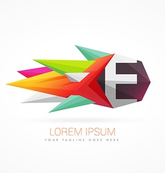 colorful abstract logo with letter E vector image