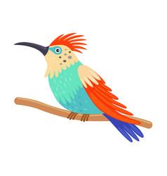 Colorful tropical hummingbird beautiful bird with vector