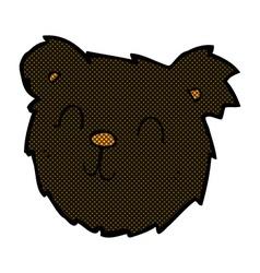 Comic cartoon happy black bear face vector