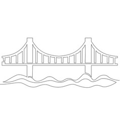 Continuous line drawing bridge icon concept vector