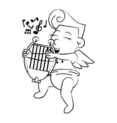 cupid with harp cartoon sketch vector image