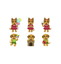 cute little dogs characters set lovely humanized vector image
