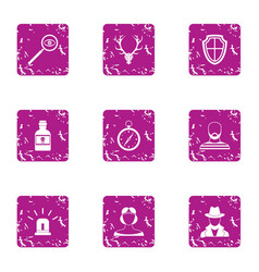 detective icons set grunge style vector image