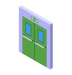 Evacuation doors icon isometric exit door vector