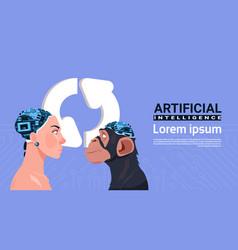Female and monkey head with modern cyborg brain vector