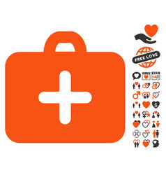 first aid case icon with love bonus vector image