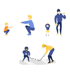 Flat boy kids adult father men doing sport vector