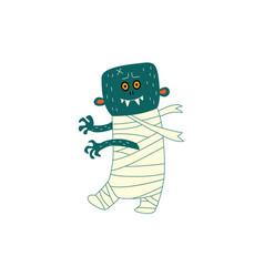 flat halloween walking zombie vector image