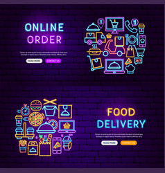 Food delivery neon banners vector