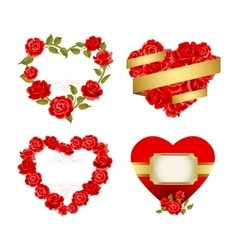 Frames with red roses vector