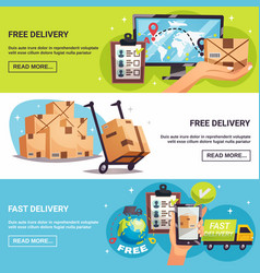 Free delivery 3 horizontal banners vector