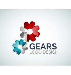 Gear logo design made of color pieces vector image