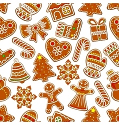 Ginger cookie Christmas dessert seamless pattern vector