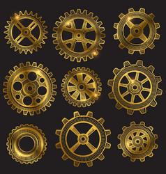 Golden retro sketch mechanical gears set vector